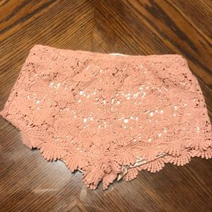 Salmon Colored Lace Shorts